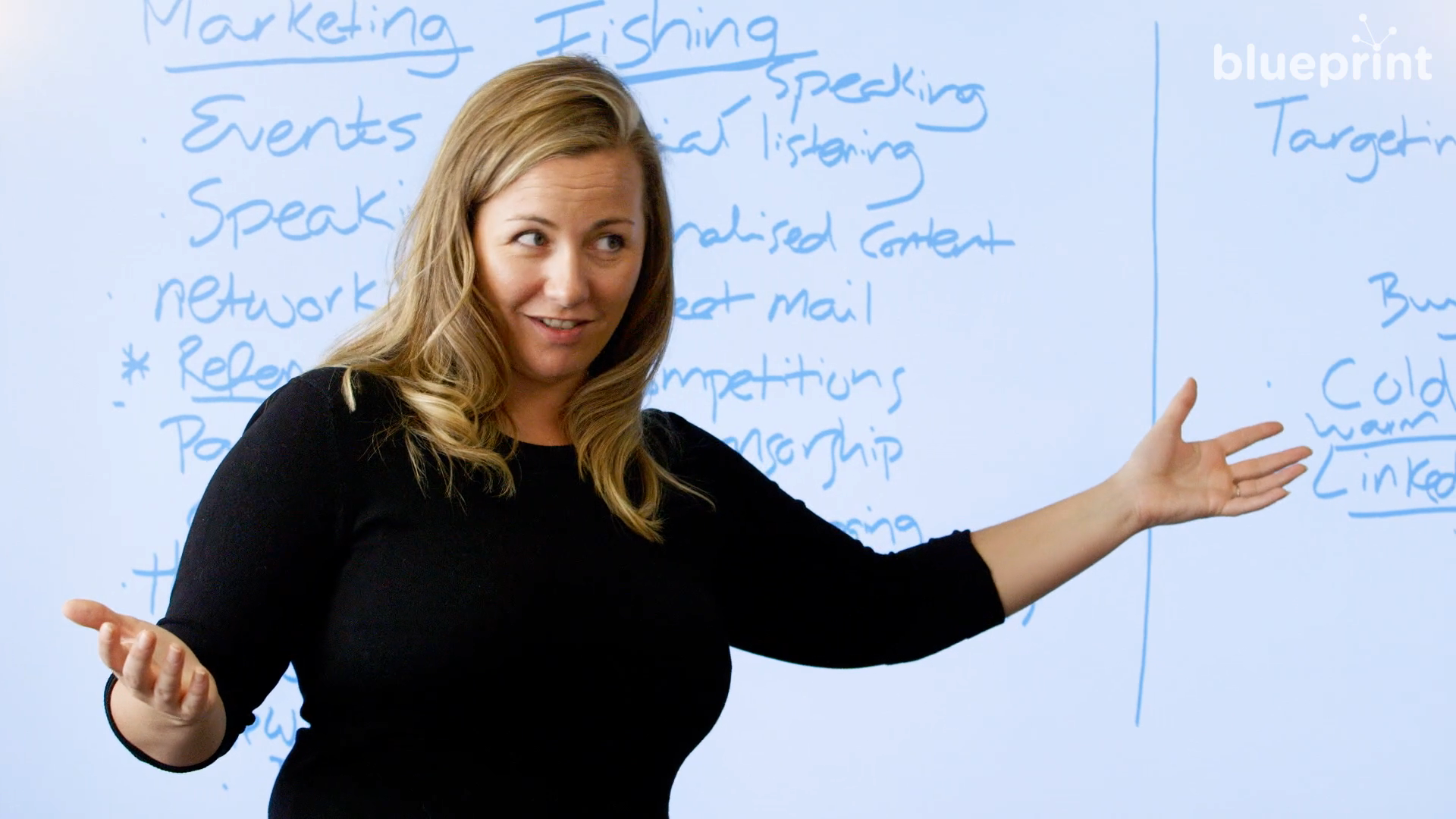 Woman gestures in front of whiteboard